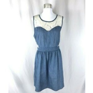 Monteau A Line Dress Chambray Lace Panels Belt XL